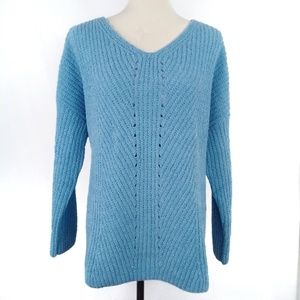 Style & Co Womens L Chenille V-Neck Sweater Blue